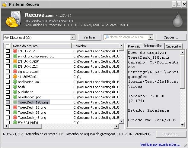 Existem duas modalidades de interface do Recuva!