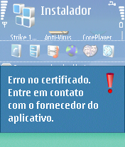 erro no certificado