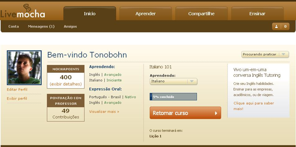 LiveMocha - aprendendo idiomas
