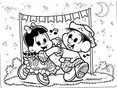 Os desenhos de colorir do Chico Bento são ideais para épocas de festa junina