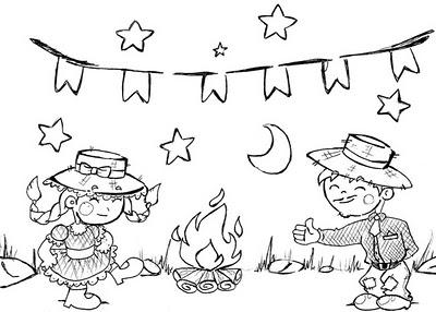 As crianças adoram desenhos de festa junina para colorir