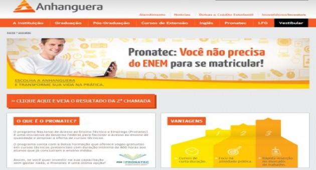 Acesse o site da Anhanguera para fazer a sua inscrição (Foto: Divulgação)