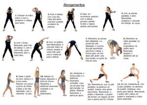 Alongamentos para fazer antes dos exercícios.