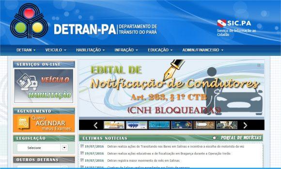 Consulta de Multas e CNH no Detran de Pará (imagem do site Detran do Pará)